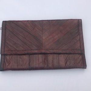 Vintage Red Eel Skin Clutch